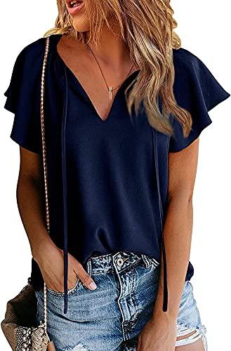 Affuhua Maglietta estiva da donna, con collo a V, maniche lunghe, casual, con motivo a farfalla blu navy XL