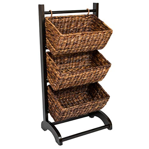 BIRDROCK HOME 3-Tier Abaca Storage Organizer Shelf - Espresso - Extremely Durable Abaca Fiber - Solid Wood Frame - 3 Baskets - Great Cubby for Food, Fruit, Toys, Clothes, Towels, etc