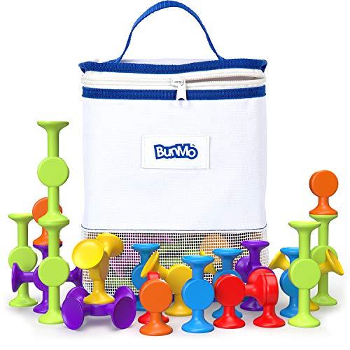 BunMo Bath Toys with Suction Bathtub Toy Organizer - 24pk Brilliant Stem...