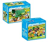 Playmobil Juego de 2 piezas: 70137 animales pequeños en cercado y gallinero móvil 70138