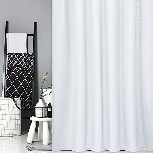 CAROMIO White Shower Curtain Fabric, Waffle Weave Polyester Fabric Shower Curtain for Bathroom with Grommet Top Design Washable, White, 72x72 Inch