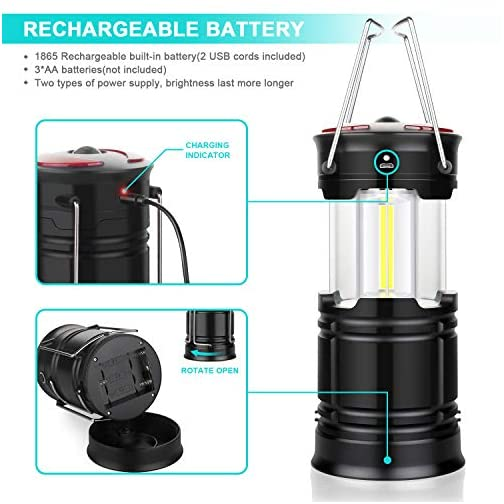EZORKAS 2 Pack Camping Lanterns, Rechargeable Led Lanterns, Hurricane Lights with Flashlight and Magnet Base for Camping… 4