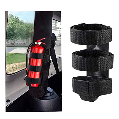 Fire Extinguisher Mount For Roll Bars - Adjustable, Secure, Easy 1 Min. Install with No Tools - For JK JKU JL TJ CJ - Stainless Hardware. Great Wrangler Accessories - Jeep Lover Gifts