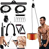 Outify Pulley System Gym, LAT Pull Down Machine with 2 Adjustable Cable Pulley Attachments for Gym,...