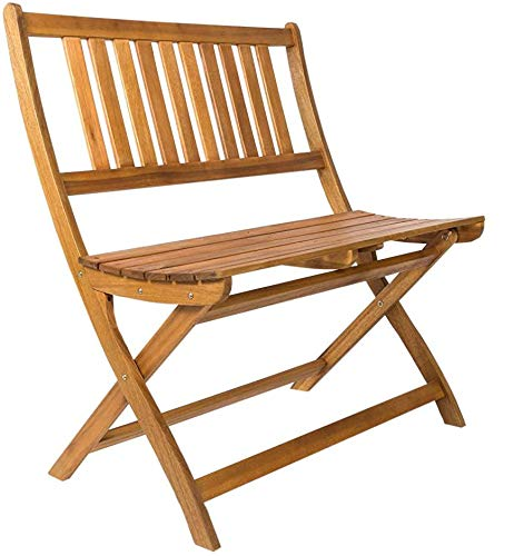 SAM 2-Sitzer Gartenbank Blossom, 80 cm Sitzbank, Akazien-Holz, Massive Holzbank, ideal für den Balkon oder Garten