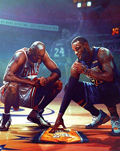 Kobe Bryant Lebron James Michael Poster, NBA Legends Picture Print Wall Art Decor All Star Tribute Fan Memorabilia Gift for Basketball Sports Fan 24''× 36''