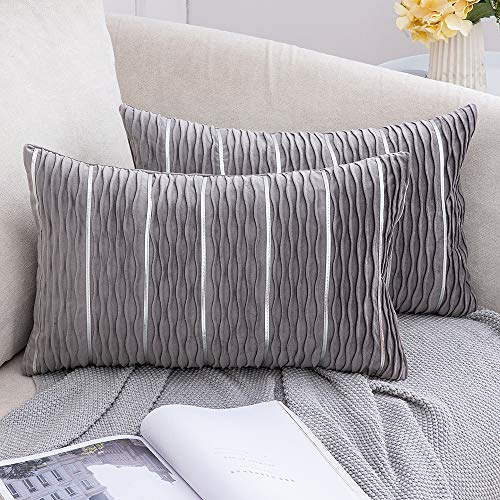 MIULEE Velvet Cushion Cover Rectangle Throw Pillow Case Decorative Jacquard 3D Wave and Silver Stripe Bars Home for Sofa Bedroom Living Room 30 x 50cm 12 x 20 Inch Grey Pack of 2