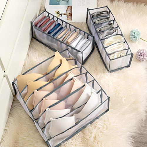 taianle Unterwäsche Aufbewahrungsbox - 3 Stück/Set Faltbare Stoff Aufbewahrungsbox Schrank Kommode Schublade Teiler Organizer Korb Mülleimer für Unterwäsche BHS