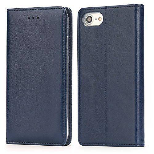 Handy 7 Plus Hülle,IPHOX Handyhülle iPhone 8 Plus Lederhülle Schutzhülle Tasche Leder Flip Hülle Wallet Stylish mit Standfunktion Etui für Apple iPhone 7Plus / 8Plus (5,5 Zoll) -Blau / E