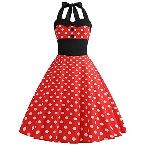 EMPERSTAR Damska Sukienka W Stylu Vintage Z Lat Pięćdziesiątych Klasyczna Retro Ploka Dot Koktajlowa Wieczorowa Sukienka Balowa Czerwony S