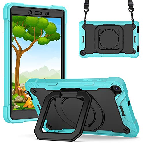 A9H Case for Galaxy Tab A 8.0 Inch 2019 SM-T290/SM-T295 Case with Adjustable Shoulder Strap, Durable Protective Case with 360 Degree Rotating Stand & Stylus Pen Holder (Mint Green + Black)