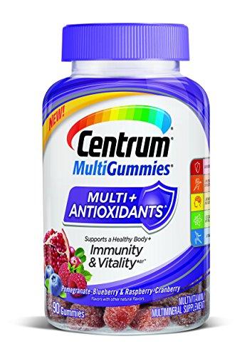 Centrum MultiGummies Multi+Antioxidants Immunity & Vitality Pomegranate-Blueberry & Raspberry-Cranberry Multivitamin/Multimineral Supplement 90 ct Bottle