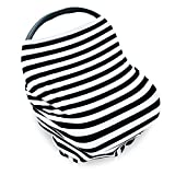 PPOGOO Nursing Cover for Breastfeeding Super Soft Cotton Multi Use for Baby Car Seat Covers Canopy Shopping Cart Cover Scarf Light Blanket Stroller Cover (Black Stripe)
