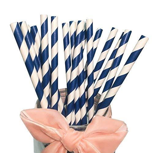 Pajitas de papel Bofa, con rayas de colores (19,7 cm), color azul marino (100 unidades) para fiestas, cumpleaños, bodas, bricolaje, decoraciones, ecológicas