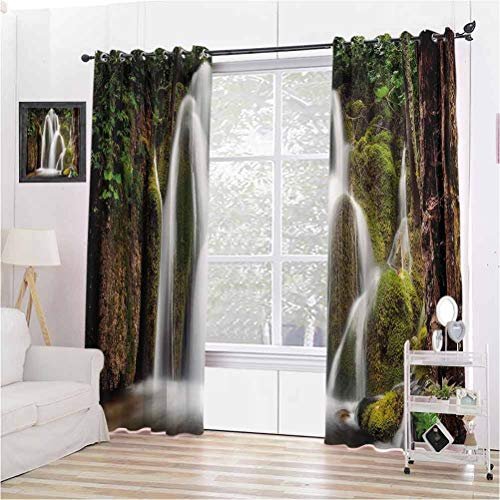 Scenery House Decor Shading Insulated Curtain Epic Waterfall Down The Cliffs Deep in Forest Natural Wonders Picture for Living Room or Bedroom W96 x L96 Inch White Green