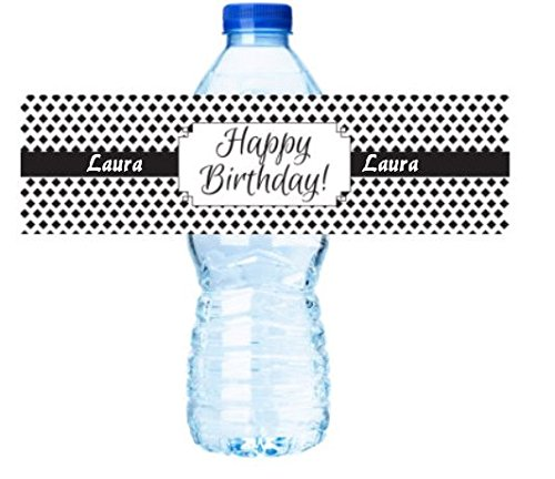 Happy Birthday Black Personalized arty Decorations - Water Bottle Labels Stickers