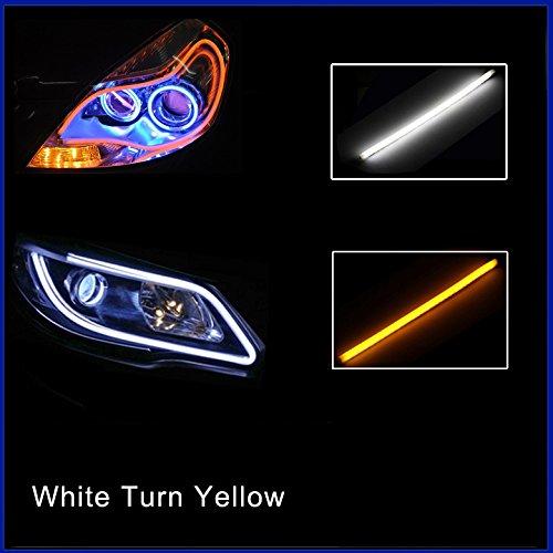 Folconroad 2 x 60 cm Coche Tubo Flexible LED Tira Diurna Luces DRL Faros Delanteros [Blanco Girar Amarillo]