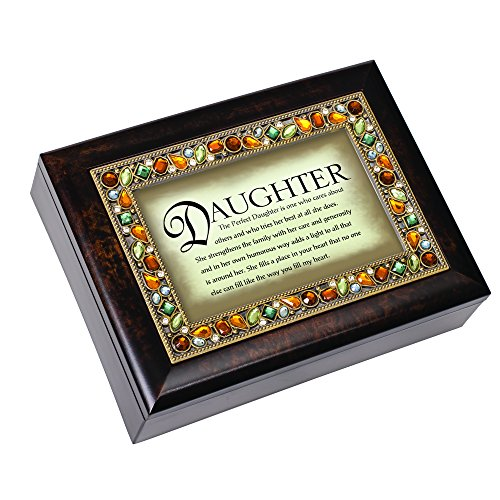 Cottage Garden Perfect Daughter Italian Style Burlwood Finish Decorative Jewel Lid Musical Jewelry Box - Plays What a Wonderful World