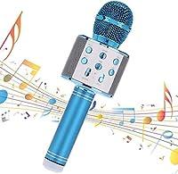 Speaker カラオケマイク、スピーカー付きワイヤレスBluetoothマイク、録音機能付きホームパーティーマイクロホン子供、音楽の演奏や歌、KTV、Android IOS PCと互換性があります。、 (Color : Blue)