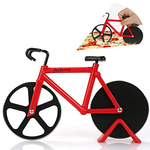 Pizza Cutter Bicycle Pizza Slicer Dual Stainless Steel Cutting Wheels with a Stand (red)