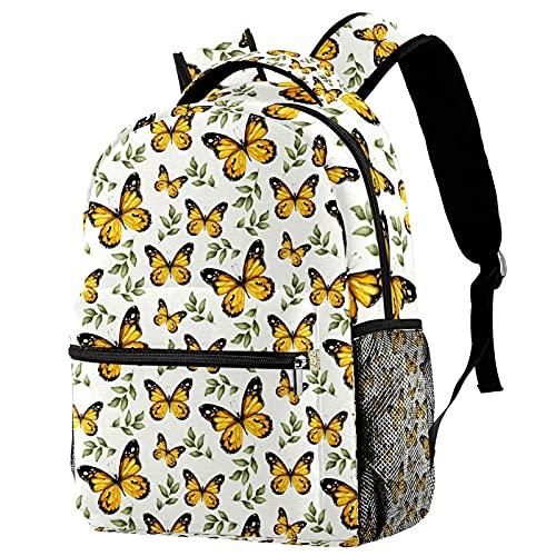 VJSDIUD Zaini grandi e leggeri con stampa di farfalle gialle Zaini con tasche per ragazze adolescenti 11.5x8x16 IN