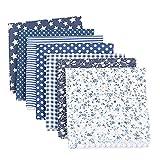 Nicole Knupfer Baumwollstoff 7 piezas para Patchwork DIY telas pregestanzten algodón Quilt DIY Scrapbooking arte (Marine,50 x 50 cm)