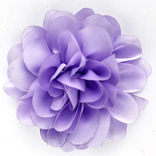 Worlds Lavender Chiffon Ruffled Fabric Flower for DIY Handmade Decorative, Hair Clip,Scrapbooking and More Decoration 10PC (2-3/8' Inch)