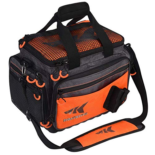 KastKing Fishing Tackle Bags, Fishing Gear Bag, Saltwater Resistant Tackle Bag, Medium-Hoss(Without Trays, 15x11x10.25 Inches), Orange