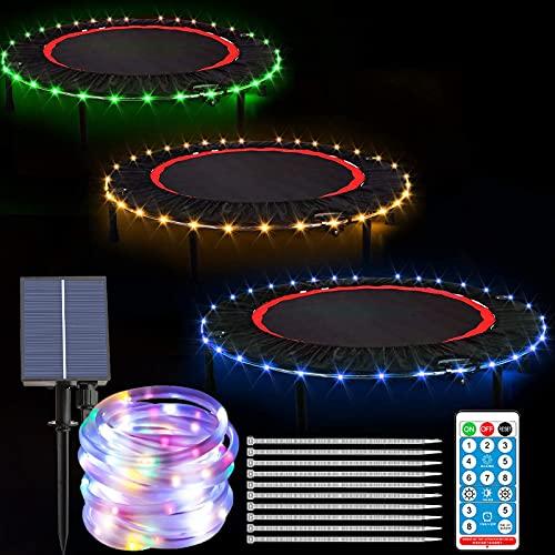Luces de cuerda LED para cama elástica con control remoto para cama elástica con luces LED solares IP65 resistentes al agua para niños y adultos para jugar por la noche, 400 ledes, 66 pies