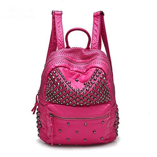 Yi-xir Mochilas de piel lavadas con diseño de moda para mujer, mochilas de viaje y mujer, ligeras y duraderas (color: rojo, tamaño: A)