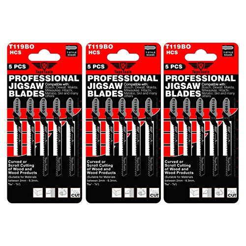 15 x TopsTools T119BO Curved or Scroll Cutting Jigsaw Blades Compatible with Bosch, Dewalt, Makita, Milwaukee and Many More