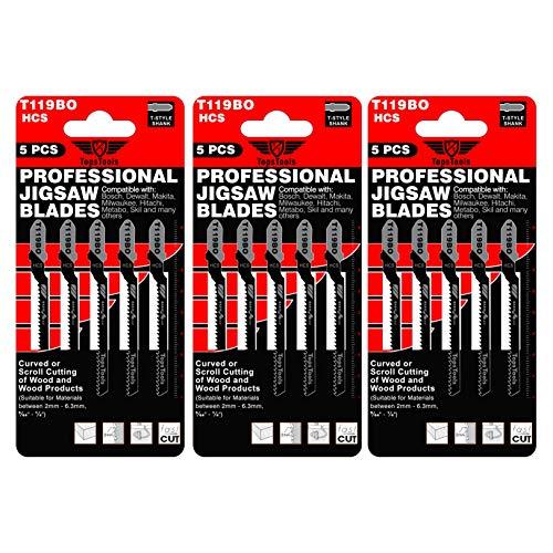15 x TopsTools T119BO Stichsägeblätter für Bosch, Dewalt, Makita, Milwaukee und viele mehr