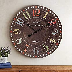 BEW Decorative Wall Clock, Large Countryside School Blackboard Rustic Clock, Colorful Chalk Numbers, Silent Wooden Farmhouse Hanging Clock for Living Room, Bedroom, Apartment, School, Hotel - 24 Inch
