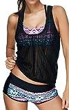 EUDOLAH Bañador Mujer 3 Piezas Top Deportivo Negro Yoga Fitness Chaleco Pantalones Cortos con Estampado Calico A- Rosa,3XL