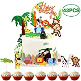Coriver 43 Piezas Cute Zoo / Jungle Theme Animal Cake Topper, 1 Piezas Happy Birthday Banner y 42 Piezas Animal Cupcake Topper para niños Decoración de cumpleaños Baby Shower Party