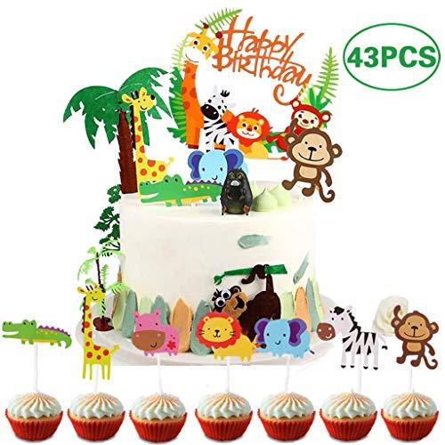 Coriver 43 Piezas Cute Zoo / Jungle Theme Animal Cake Topper, 1 Piezas Happy Birthday Banner y 42 Piezas Animal Cupcake Topper para niños Decoración de cumpleaños Baby Shower Party