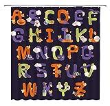 JOOCAR Design Duschvorhang, ABC Kinder Lernen Cartoon Buchstaben mit Halloween Kürbis Katze Fledermaus Lustig Kreativ Wasserdicht Stoff Stoff Badezimmer Dekor Set mit Haken