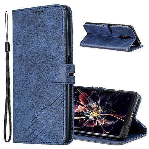 MRSTER Funda para Xiaomi Redmi 5 Plus, Simple y Elegante Funda Protector Carcasa PU Leather con TPU Silicona Case Interna Suave para Xiaomi Redmi 5 Plus Smartphone. Retro Blue