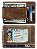 Toughergun Genuine Leather Magnetic Front Pocket Money Clip Wallet RFID Blocking (Carbon Fiber Black Top Notch)