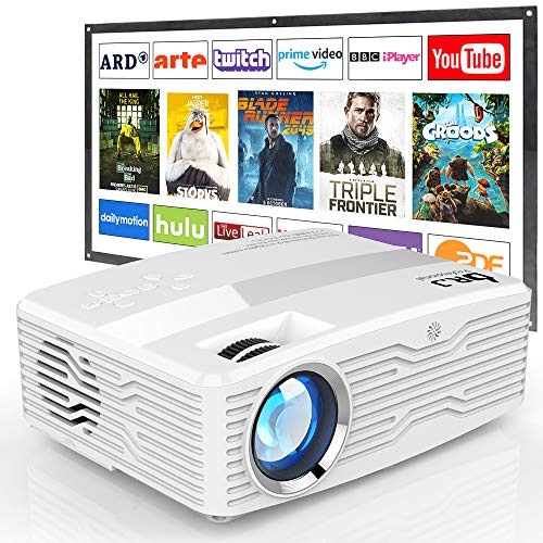 "[Native 1080P Projector with 100Inch Projector Screen] 6800Lumens LCD Projector Full HD Projector Max 300"" Display, Compatible with TV Stick, HDMI, AV VGA, PS4, Smartphone for Outdoor Movies"