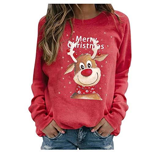 SicongHT Weihnachten Pullover Damen, Frauen Weihnachtspulli Rentier Elch Hirsch...
