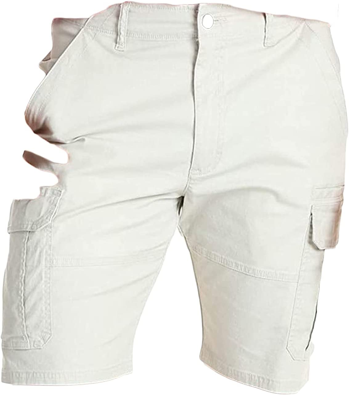 Men's Cotton Casual Cargo Shorts Outdoor Comfy Lightweight Twill Short Multi Pocket Sport Workout Straight Leg Shorts (White,XX-Large)