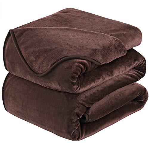 Fleece överkast filt drottning storlek brun varm och mjuk - fluffig mikrofiber antistatiska filtar för soffa och säng (220 x 240 cm)