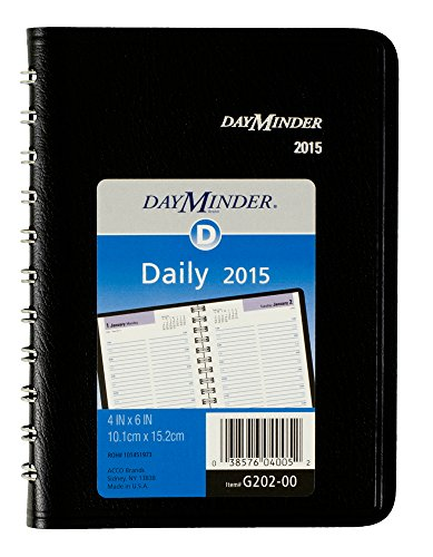 DayMinder Daily Appointment Book 2015, Wirebound, 4 x 6 Inches Page Size, Black (G202-00)