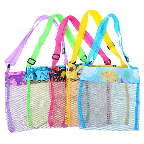 TOYMYTOY Bolsas de Playa de Malla Bolsas de Malla de Concha de Mar Bolsas de Almacenamiento de Juguetes para Niños Bolsas Organizadoras de Almacenamiento, Paquete de 5