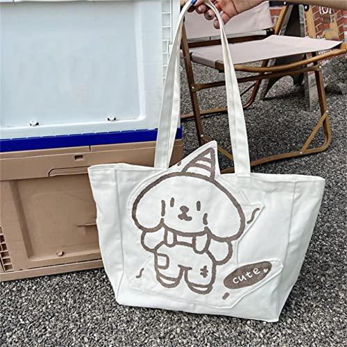 SDFNJK Bolsa De Playa Grande Tote Bag Mujer Estilo Coreano Bolso De Mano Mujer con Cremallera Bolso De Escuela Crossbody Bag Lona DIY Decoración