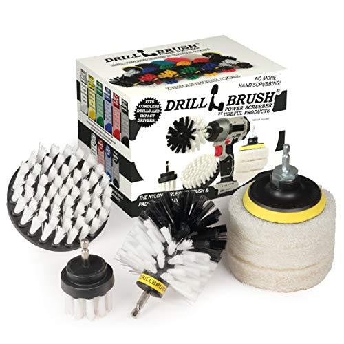 Drillbrush Brosse de perçage - Patins à récurer et brosses pour Salle de Bain, Cuisine et Usage général, kit de tampons de même Couleur 1 Soft-White + Matching Pads