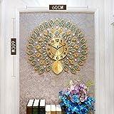 sxh2818517 - Reloj de pared 3D para decoración del hogar, diseño moderno, diseño de pavo real, gran Europa, relojes creativos para el salón, decoración en relojes de pared de la casa, 60 x 60 cm A1