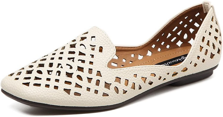 Ladola Womens Hollow Out Square-Toe No-Closure Urethane Flats shoes