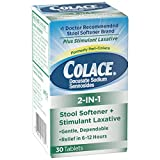 Colace 2-IN-1 Stool Softener & Stimulant Laxative Tablets, Gentle Constipation Relief in 6-12 Hours, 30 Count